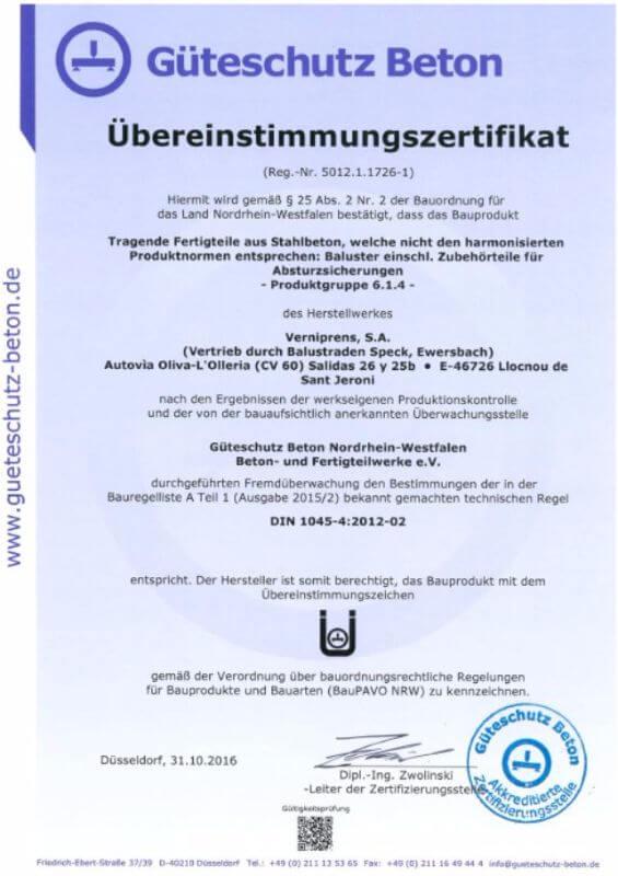 Güteschutz Beton-AZertifikat