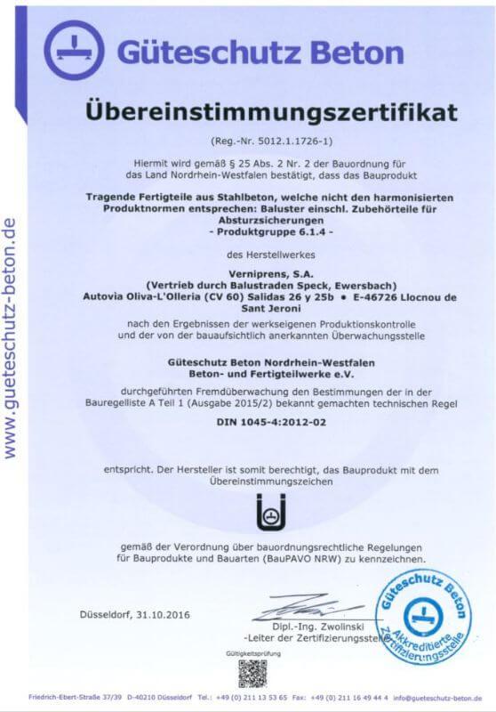 Güteschutz Beton Uebereinstimmungszertifikat
