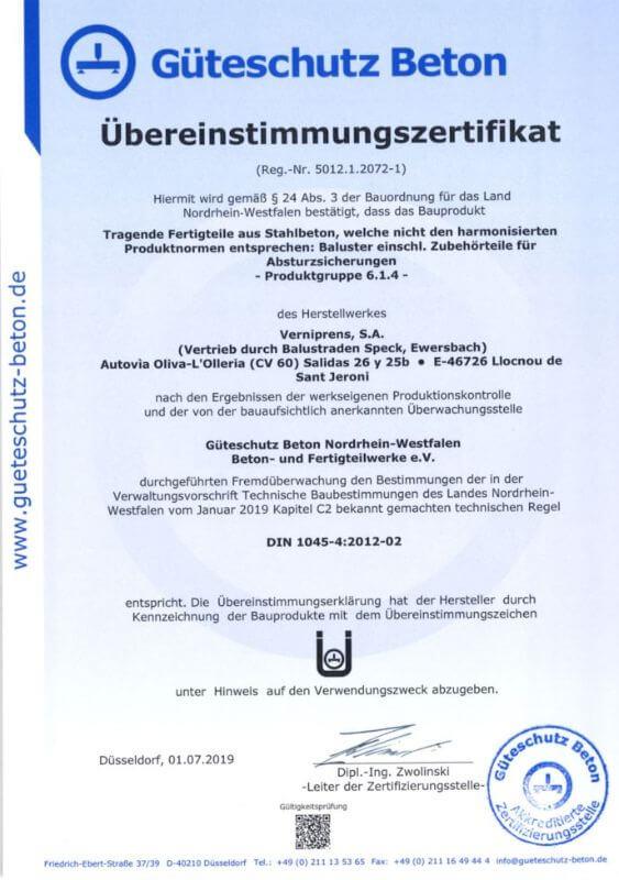 Güteschutz Beton Zertifikat 3