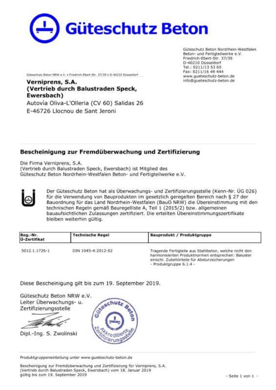 Gueterschutz Beton Zertifikat